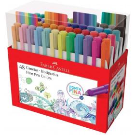 Caneta Ponta Fina Faber-Castell - Fine Pen Colors/FPB/ES48ZF  C/48 Cores Sortidas