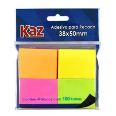 ADESIVO P/RECADO 38X50 NEON CORES C/100FLS KZ2005N (PT C/4 BL)